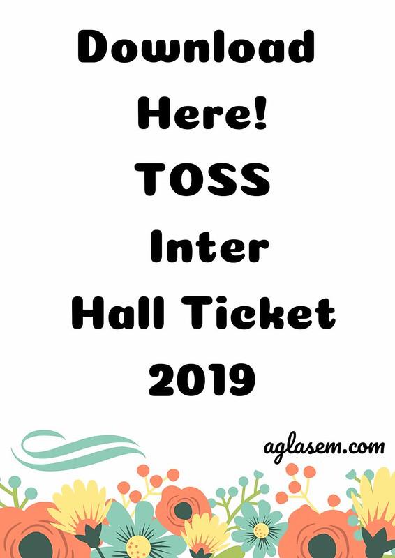 TOSS Inter Hall Ticket April- May 2019