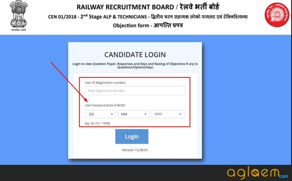 RRB ALP Answer Key 2019 Login