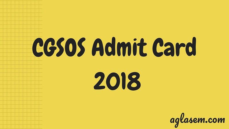 CGSOS Admit Card 2018