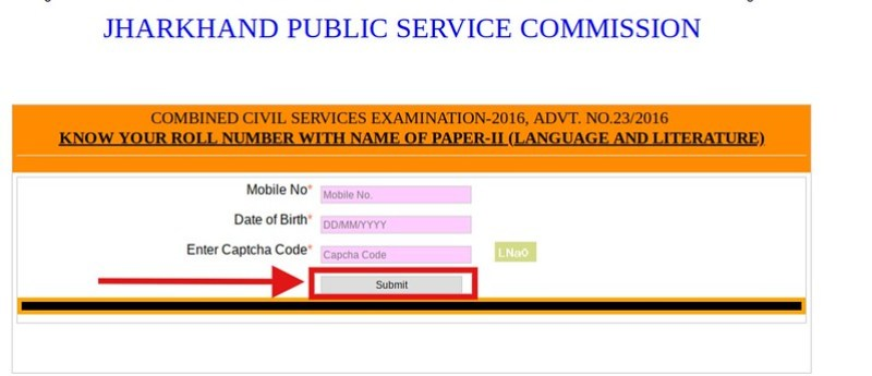 JPSC Main Exam roll number fetching window