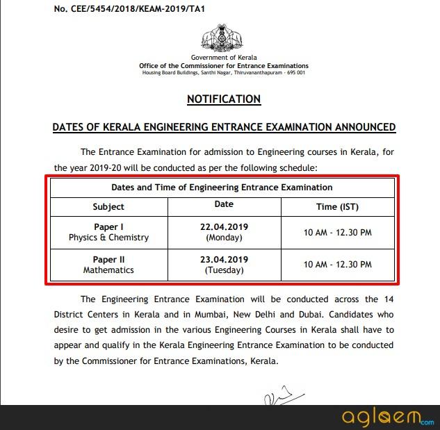 KEAM 2019 Exam Date