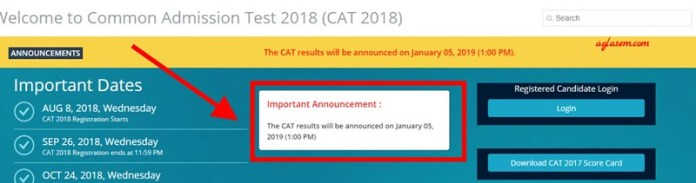 CAT Result 2018 Date Official