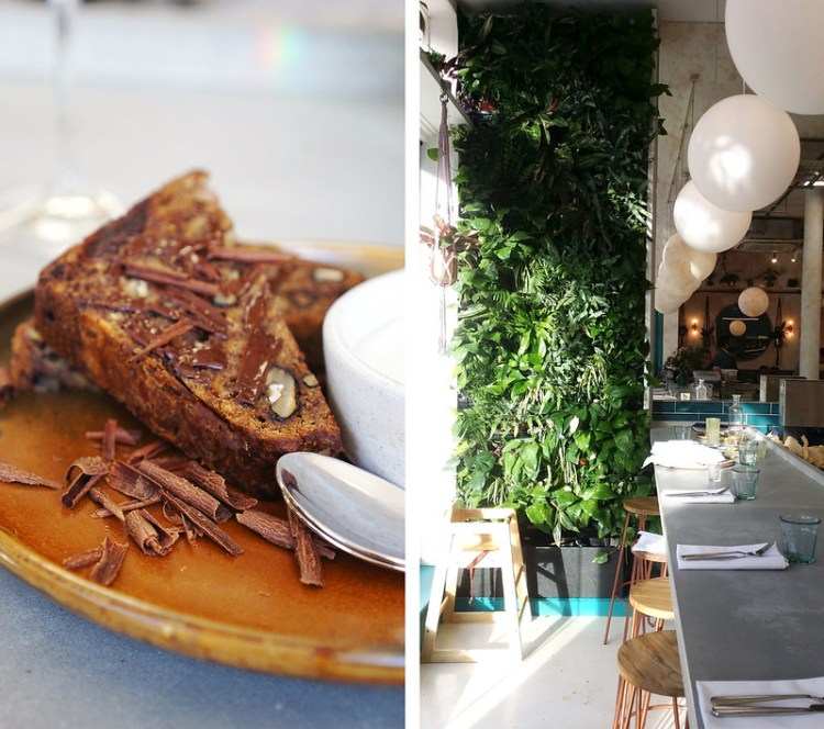 Gluten free banana bread with chocolate, nut butter and coconut yoghurt from Wild Food Cafe | Gluten Free Islington