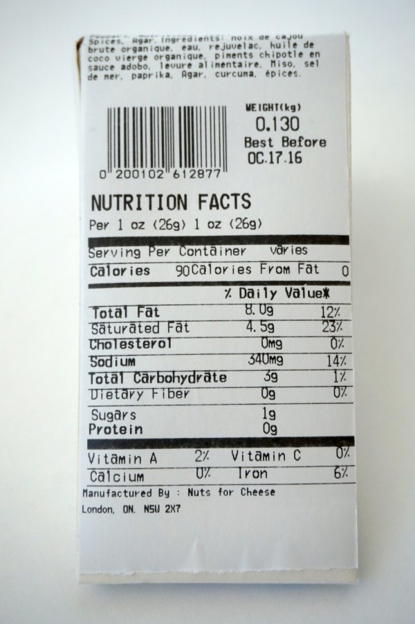 Nuts For Cheese Nutrition Label | thelittleredspoon.com
