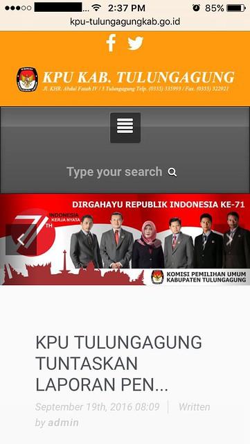 Tampilan web www.kpu-tulungagungkab.go.id saat diakses melalui smartphone