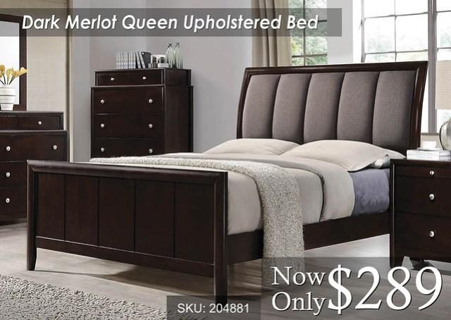 Dark Merlot Queen Upholstered Bed