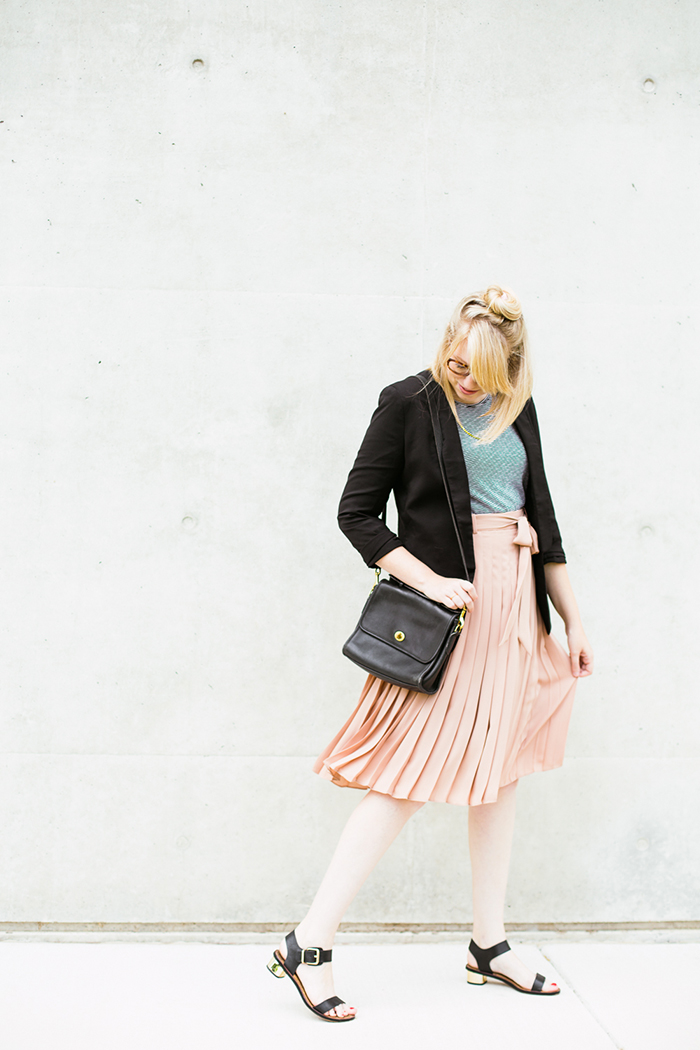 black blazer striped tank blush midi skirt1