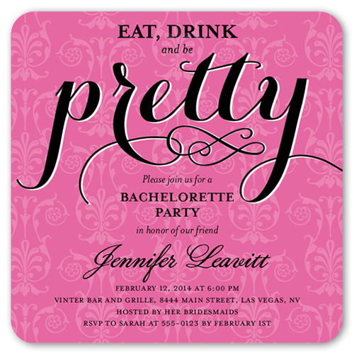 Pretty Party 5x5 Flat Card Bachelorette Party
