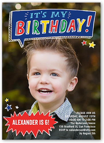 talk bubble fun 5x7 boy birthday invitations shutterfly