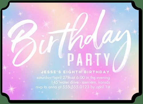 purple girl birthday invitations