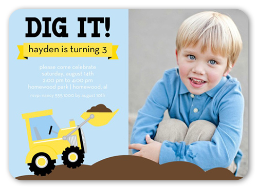 we dig trucks 5x7 birthday party invitations shutterfly