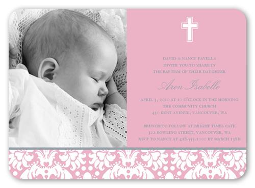 Baptism Baroque Pink Invitation Baptism Invitations