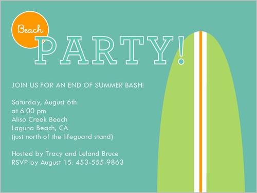 Dude Beach Party 4x5 Invitation Card Party Invitations