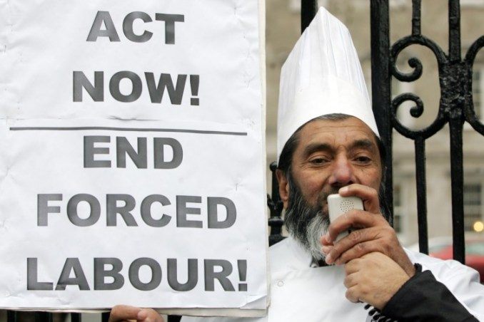 Muhammad Younis campaigning against force labour in Ireland. Image Credit: Journal.ie