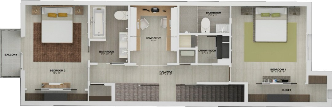 Enclave unit BCD Floor plan 2nd story
