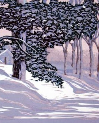 original hand pulled print of a winter scene