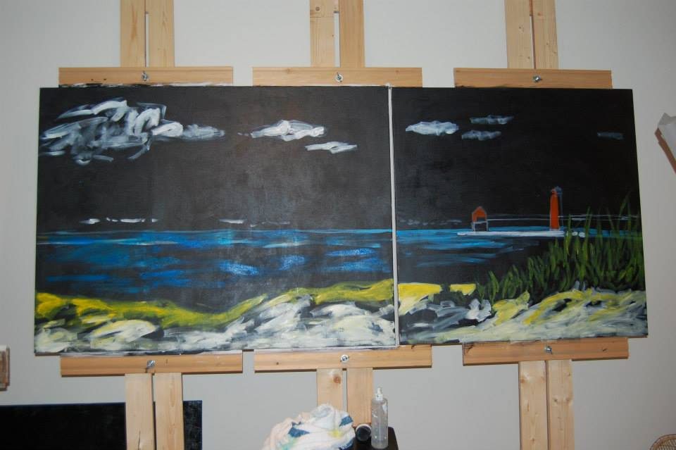 Christi Dreese's painting in process.