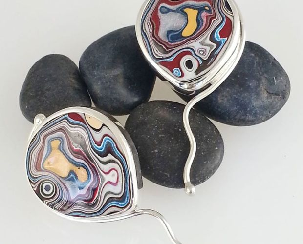 Fordite earrings by Julie Sanford