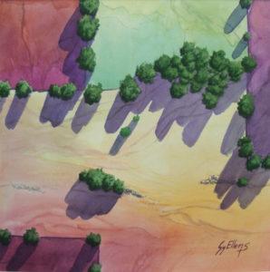 LAND BETWEEN watercolor 22x22 (30x30 framed) - Copy800