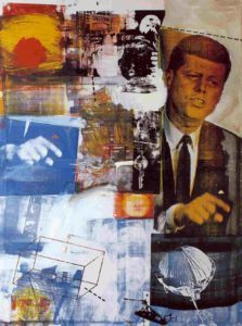 """Tribute 21: Retroactive I"" 1963 collage, oil & silkscreen ink by Robert Rauschenberg (1925-2008)"