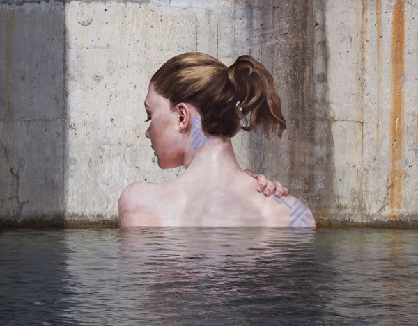 Woman Mural swimming on wall above water