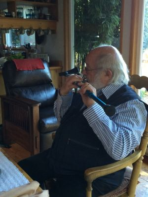 Robin Hopper playing his horn mouthpiece