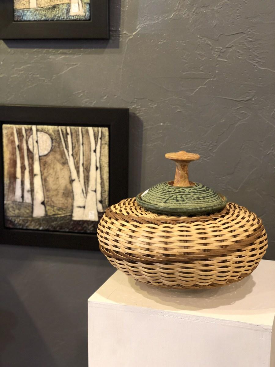 Raku wall hanging by Tonya Rund. Ceramic and Basket vessel by Stephen Kostyshyn