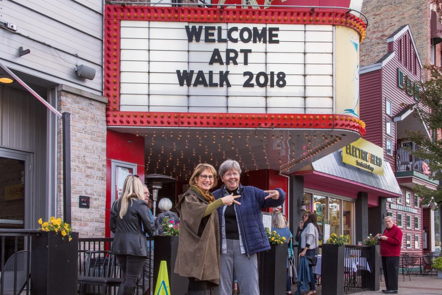 Mayor McCaleb and Cyndi Casemier kicking off ArtWalk