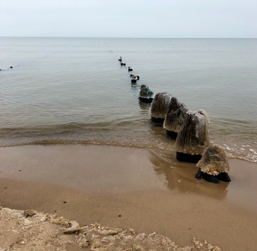 Abandoned pier in Lake Michigan