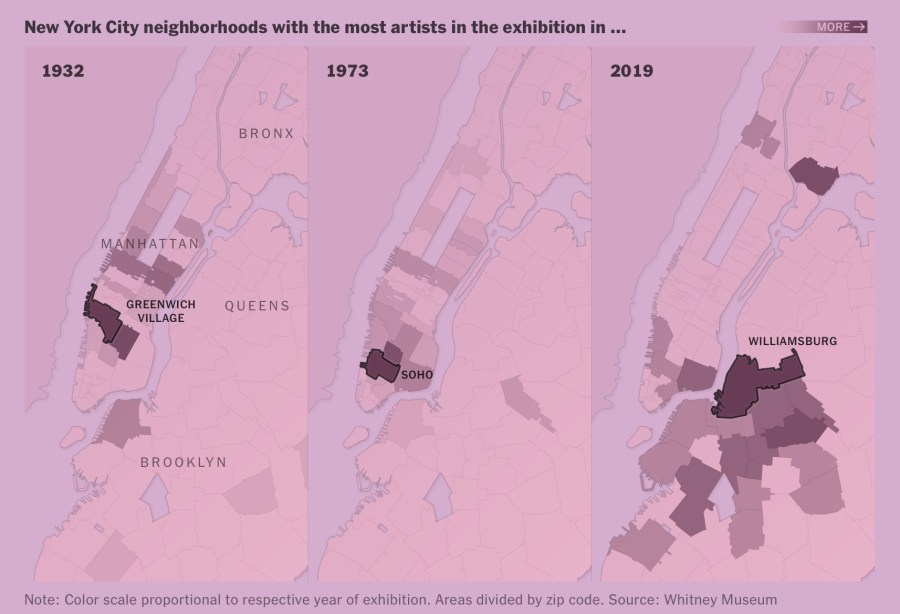 Map of artists located in the Manhattan area