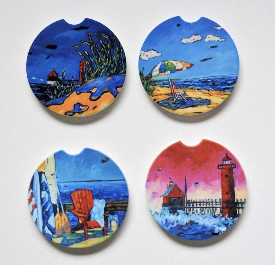 Coasters of Lake Michigan imagery by Christi Dreese