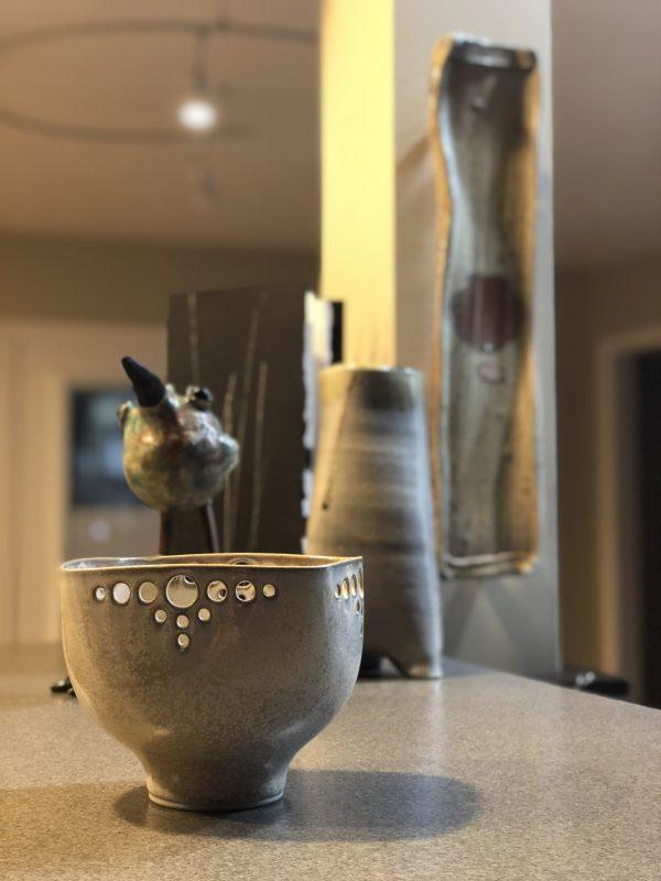 Judi Dyelle bowl, Tonya Rund Bird, Julie Devers Vase and Tray