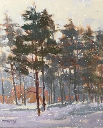 original acrylic painting of winter pines