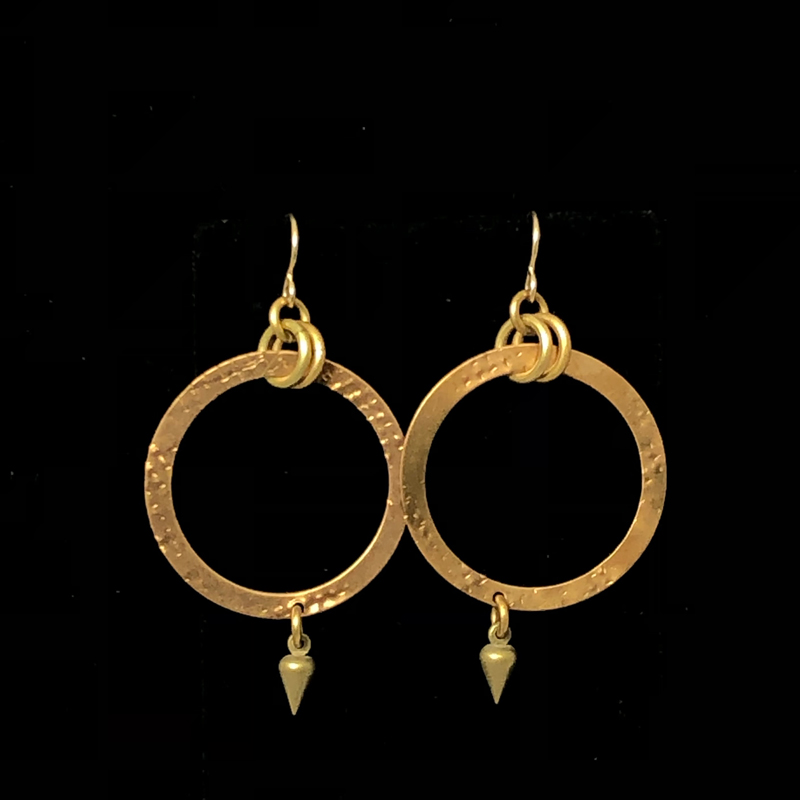 flat hoop earrings with a charm on the bottom
