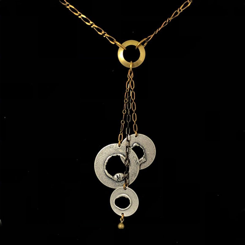 Silver & Brass 3 Disc Drop Necklace