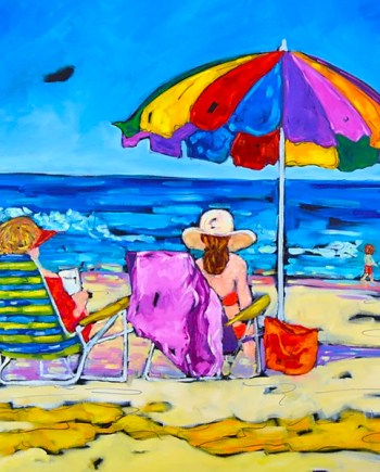 original painting of 3 people on beach with umbrella