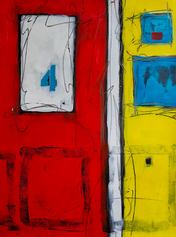 origianl abstract painting with red, aqua, yellow, black and white