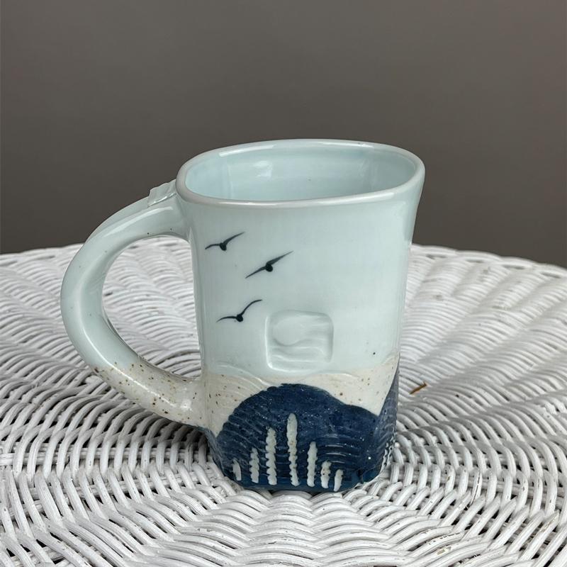 Celadon Mug with Beach Sand by Cyndi Casemier