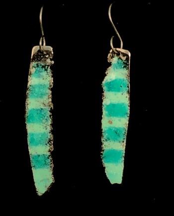 handmade enamel steel earrings with aqua stripes