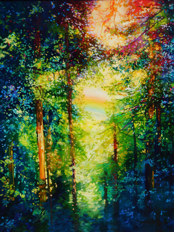 original painting of light coming through a wooded scene