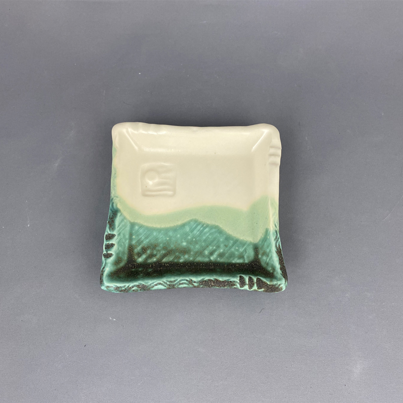 handmade soap dish or for earrings. spoon rest. Is this your color of green? a fresh white color too.