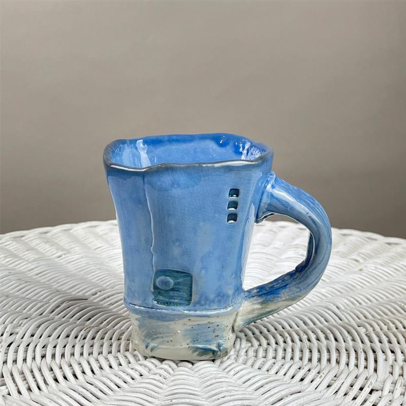 Hand Built Blue Beach Sand Mug by Cyndi Casemier