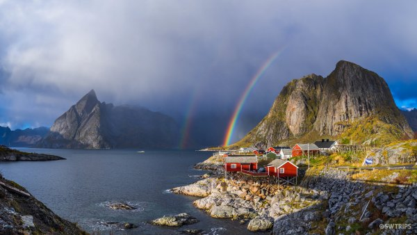 Panorama Double Rainbow over Hamnoy - Lofoten, Norway.jpg