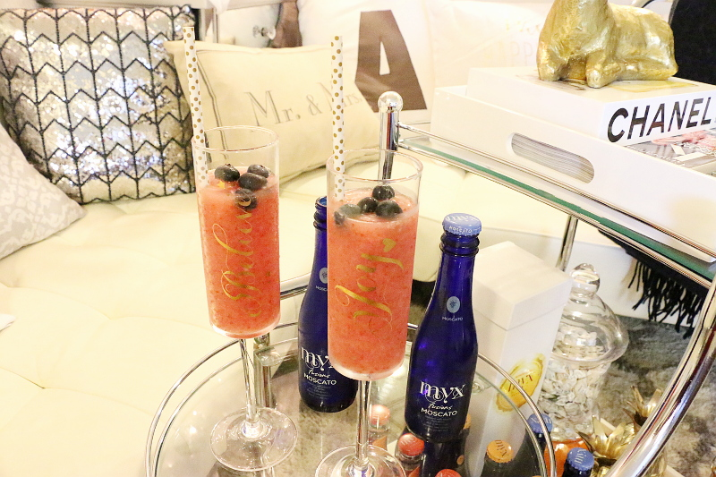 Holiday cocktails, MYX Fusions, wine, strawberry, blueberries
