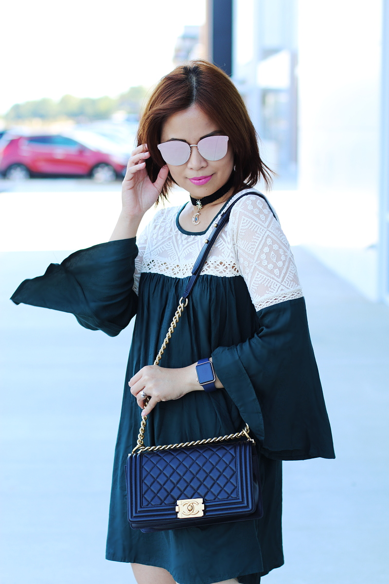 green-bell-sleeves-dress-chanel-boy-bag-4
