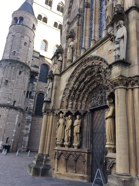 Trier city centre, detail of church entrance