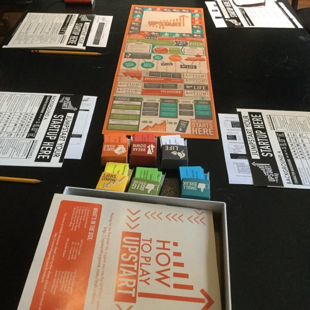 Open board game and situation cards