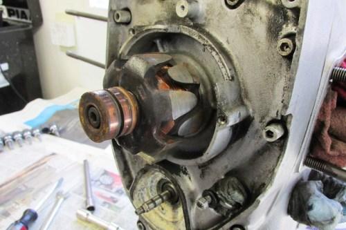 Stator Removed Showing Rotor on Crankshaft Nose
