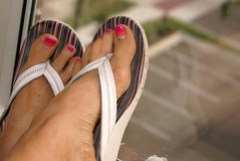 spray tanned feet