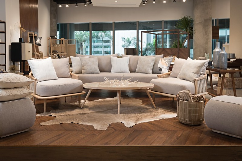 Philux Home Center Vignette 2 with the Stockholm Set and Pouf Ottomans